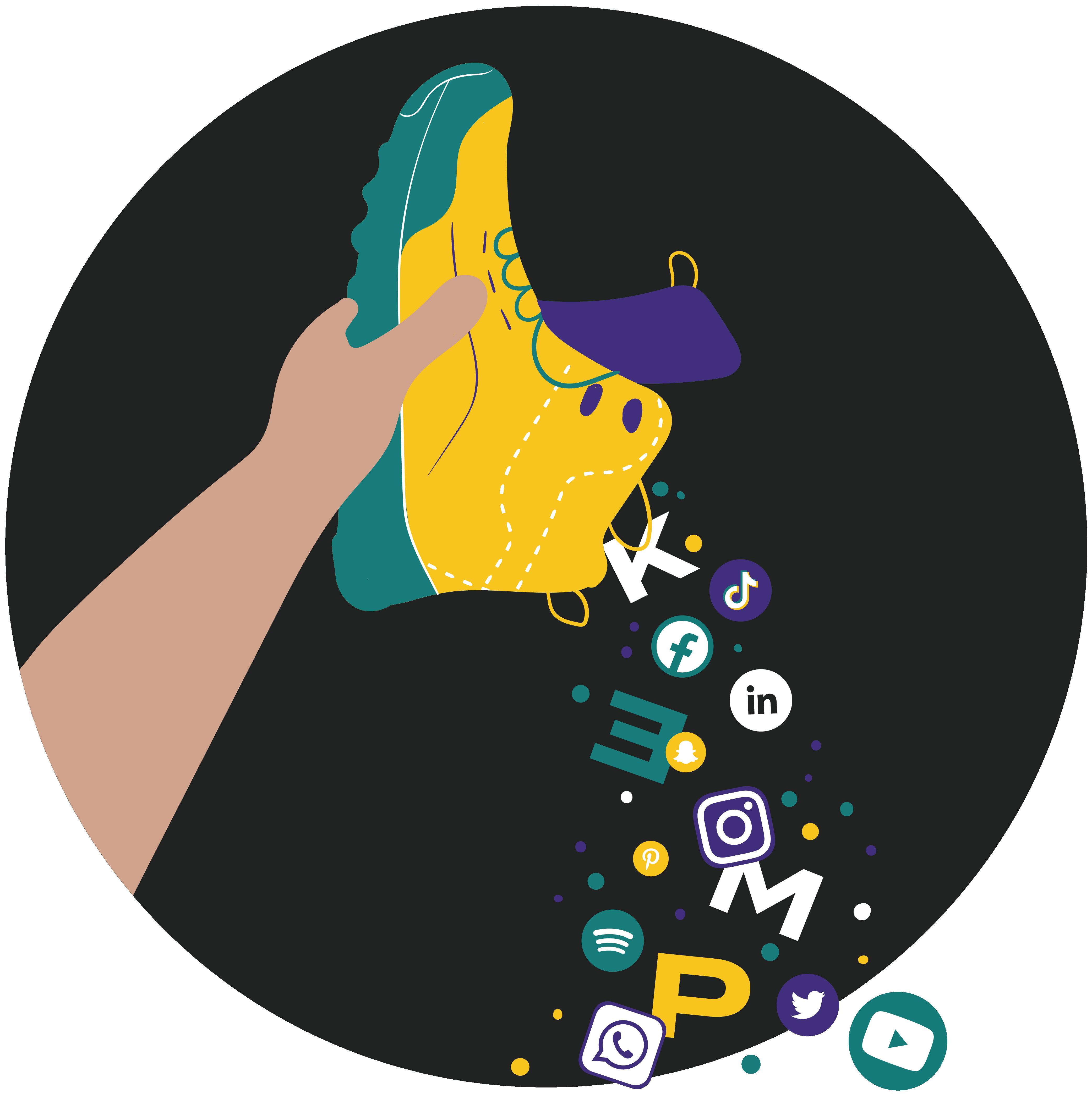 Ilustrácia tenisky, z ktorej sa sypú logá rôznych sociálnych médií a písmenká KEMP.
