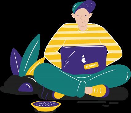 ilustrácia chlapca v pruhovanom tričku so šiltovkou, sedí v tureckom sede, na kolenách má položený notebook nálepkou KEMP