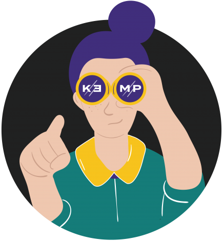 Ilustrovaný portrét ženy v košeli s okuliaroch, v ktorých je nápis KEMP.