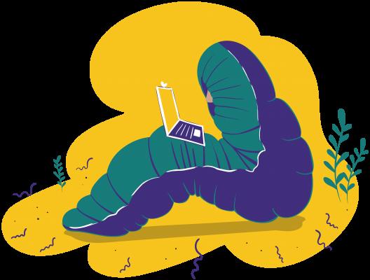 Ilustrácia postavy zabalenej v spacáku s notebookom na kolenách.